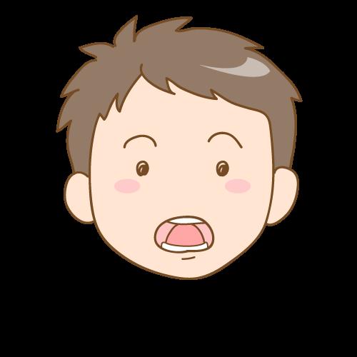舌で歯を押す子供